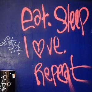 (Food)lingo graffiti op een Londense muur; © Marjan Ippel