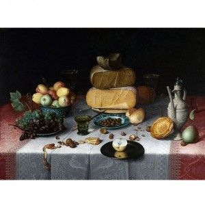 Geen boterpoeder te bekennen op Stilleven met kazen van Floris Claesz. Van Dijck (ca. 1615; Rijksmuseum)